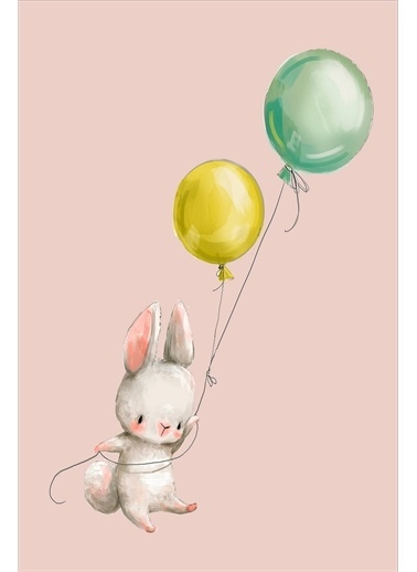 Frenda Frenda Home Tavşan Desenli Kaymaz Deri Taban Dekoratif Halı Pembe